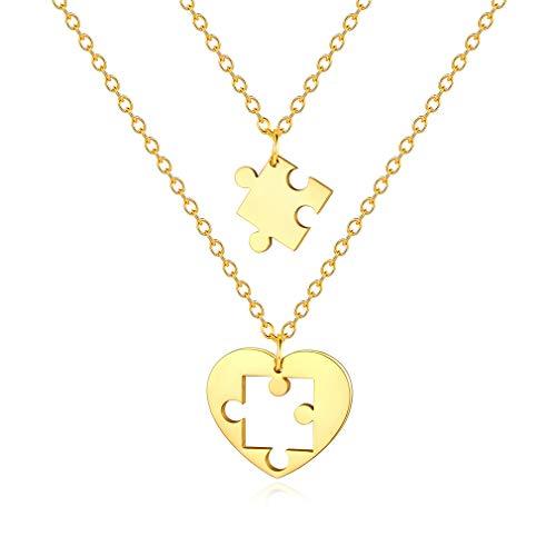 Custom4U Rompecabezas Colgantes de Amor y Amistad Collares Rompecabezas Dos Piezas Corazón Roto Dorado