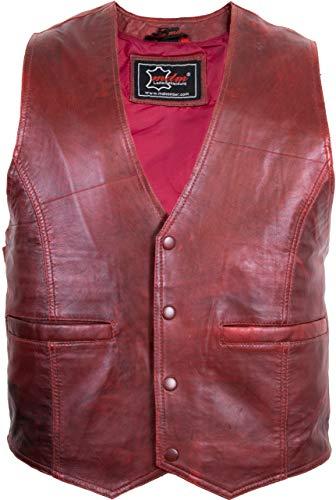 MDM Chaleco de piel de cordero para hombre, color rojo lavado rojo S