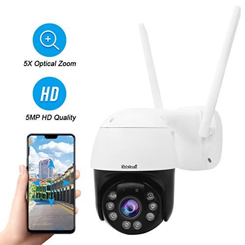 5MP PTZ Wireless IP Camera Outdoor, 1920P HD CCTV Surveillance Camera ONVIF, 5X Zoom, Waterproof Security Camera, 2-Way Audio, Enhanced Night Vision, Motion Tracking, SD Card Slot.