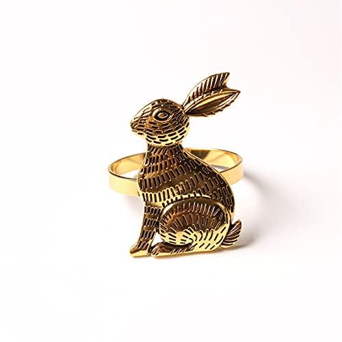 6pcs Thanksgiving Påskbord Dekoration Kanin Servett Buckle Servett Ring Tyg Ring (Color : Gold)
