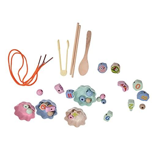 Atyhao Vorschule Lernspielzeug, Clip Bead Spiel Schnürung Bead Holz Pädagogisches Kinder Konzentration Training Spielzeug