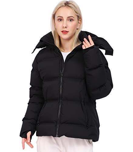 Down Jacket for Women Insulated Puffer Jacket Hooded Winter Coat(Black, M)