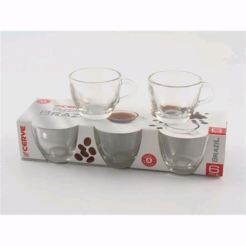 Set 6 Tazze Tazzine Da Caffe' In Vetro Trasparente To3530