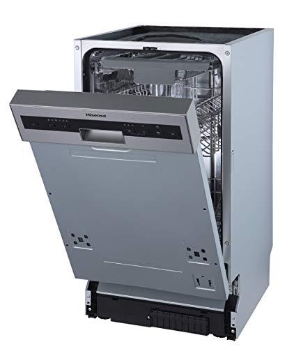 Hisense HI520D10X Geschirrspüler/teilintegrierbar/ 45 cm/ 9 Maßgedecke/TotalDry/Innenraum aus Edelstahl/AquaStop