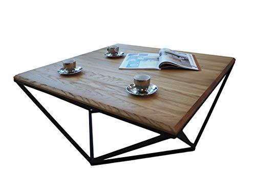 Lumarc Siena - Mesa de salón de madera maciza de roble natural, diseño moderno, industrial minimalista, roble cuadrado, 75 x 75 x 40 cm