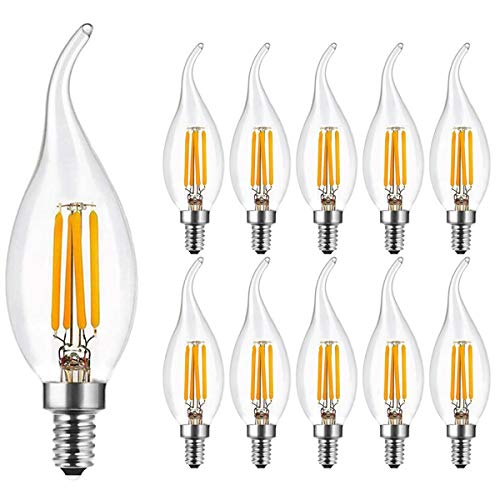 10er Pack E14 LED Kerze Lampe für Kronleuchter 4W, Classic LED Kerzen Fadenlampe, Warmweiß 2700K 300LM Nicht Dimmbar