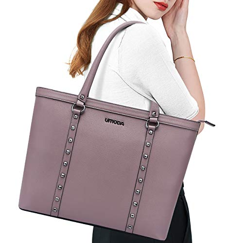 Laptop Bag for Women,15.6 Inch Padded Computer Bags for Women,Chic Studded Laptop Briefcase for Business Work Travel,Light Purple