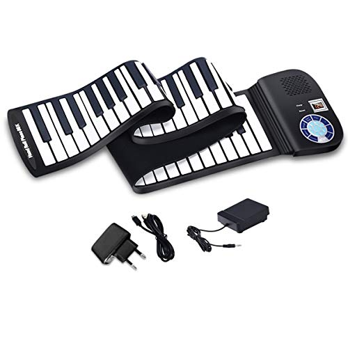 COSTWAY 88 Tasten Roll Up Piano, Roll-Up Keyboard, Klavier faltbar, Rollpiano mit Sustain Pedal, Bluetooth und MIDI Funktion