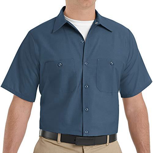Red Kap Men's Industrial Work Shirt, Regular Fit, Short Sleeve, Dark Blue, Large
