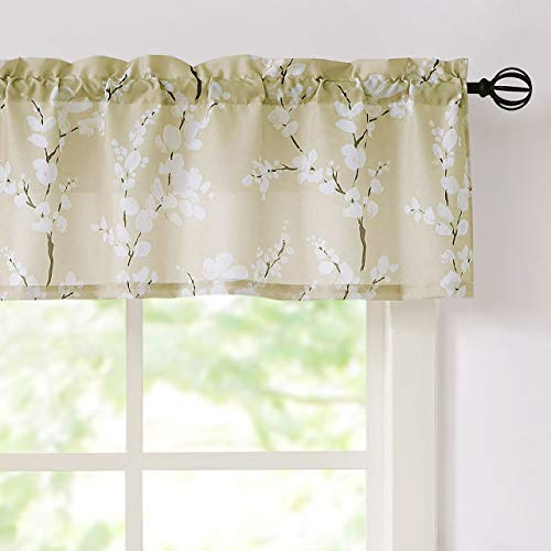 """Fmfunctex Beige-White Valance Curtains for Windows Print Blossom Sunlight Filtering Window Panels for Cafe Natural Themed Valance Drapes 1 Panel 54""""W x 15"""" L"""
