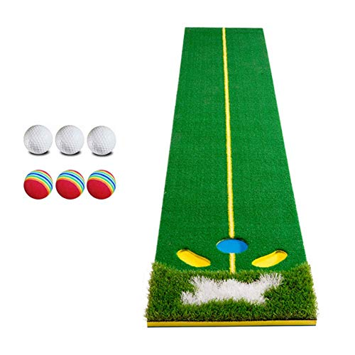 Check Out This lqgpsx Portable Golf Putting Green Grassroots Mat with Balls, Ideal for Outdoor Indoor Professional Practicing, Training ndash; Thicker and Wider Surface (1.6ftx10ft)