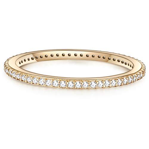 Glanzstücke München Damen-Ring Sterling Silber gelbvergoldet Zirkonia weiß - Vorsteckring Goldring Zirkoniaring Handschmuck