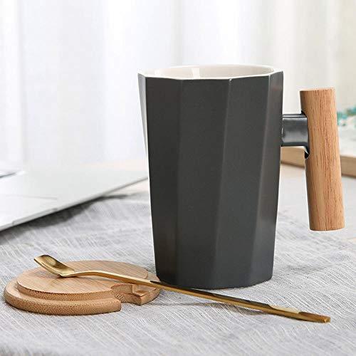 Tgbyhnujm Koffiemok, houten handvat, keramische mok, geometrie, melkop, waterbeker, kantoor, huishouden, drinkbeker, paar, 1 kop, 1 lepel, 1 deksel