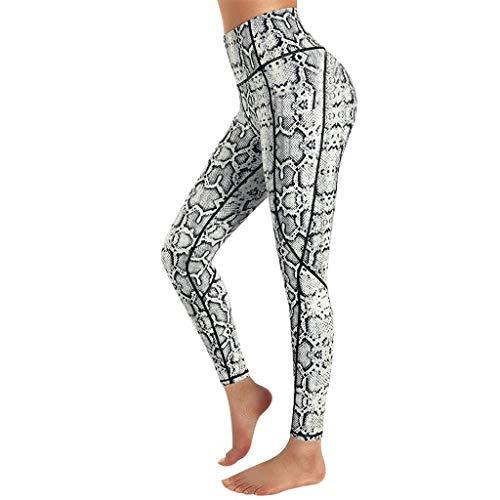 QTJY Mujer Pantalones de Yoga Estampado de Leopardo Cintura Alta Medias de Entrenamiento Flexiones Celulitis Correr Fitness Pantalones Deportivos D XL