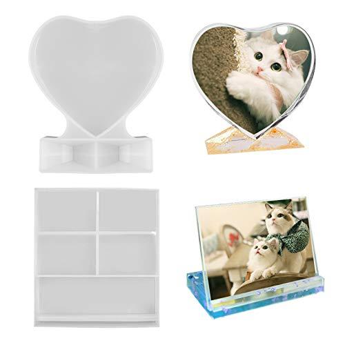 YZNlife Harz Formen Fotorahmen 2Pcs Photo Frame, DIY Silikonform Bilderrahmen, Posterrahmen Resin Form, Rechteckig und Herzform