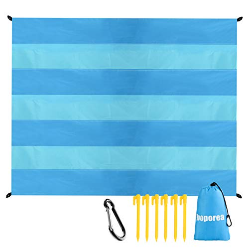 BOPOREA Beach Blanket, 79''×83'' Waterproof Sandproof Picnic Blanket for 4-7 Persons Oversized Lightweight Outdoor Beach Mat, Portable Picnic Mat for Travel, Camping, Hiking