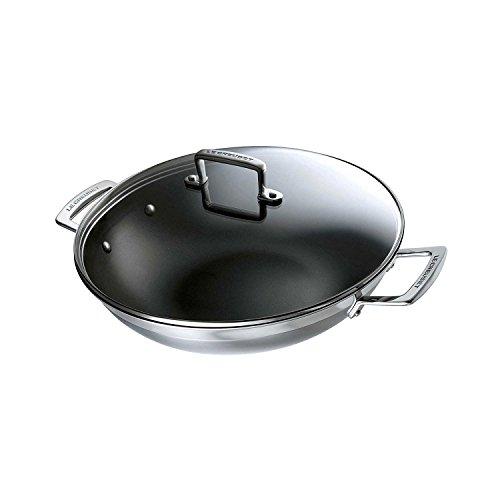 Le Creuset Wok Anti-adhérent avec Couvercle en verre Le Creuset, Ø 30 cm, Inox 3-ply Intégral,Capacité 4,8 L, Sans PFOA, Compatible avec Toutes Sources de Chaleur (y Compris Induction), Argenté