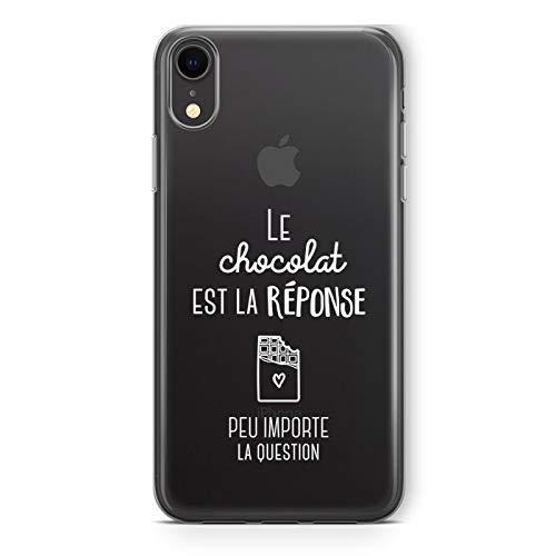 Zokko - Carcasa para iPhone XR con Texto en inglés El Chocolate es la Respuesta Que Puede Importar la Pregunta – Flexible Transparente – Tinta Blanca