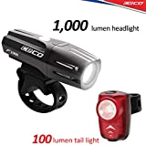 WasaFire Bike Lights Set-USB Rechargeable Front...