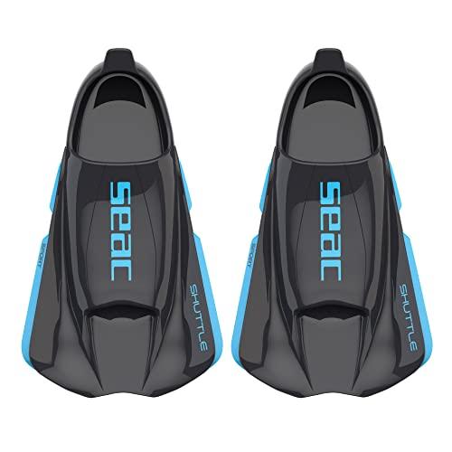 SEAC Shuttle Pinne Corte da Nuoto 100% Silicone per allenamenti Cardio e di Forza Unisex-Adult, Nero/Azzurro (Black/Blue Sport), 40/41 EU