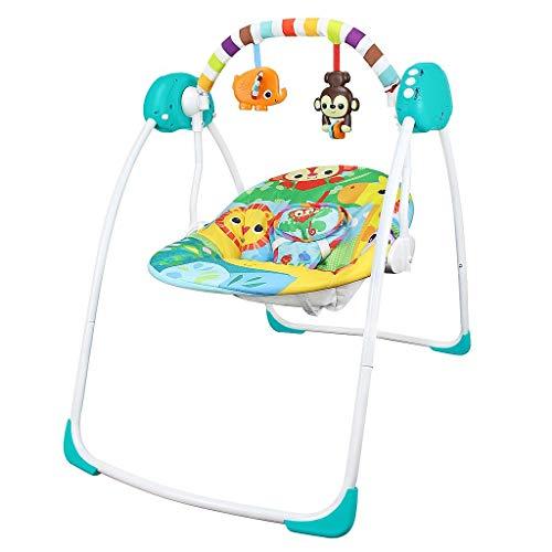 Todeco - Hamaca para Bebes, Mecedora para Bebés - Tamaño: 80 x 76 x 54 cm - Función Swing: 4 configuraciones - Animals World Pattern