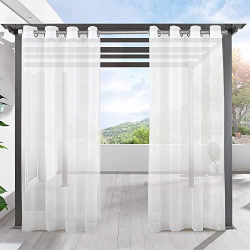 LIFONDER Outdoor-Vorhänge für Terrasse, wasserdicht, 2 Stoffbahnen mit Ösen, Voile, durchsichtig, mit 2 Raffhaltern, Balkonschattierungen, Veranda-Vorhänge/Deck-Dekor, 137,2 cm breit und 274,3 cm lang