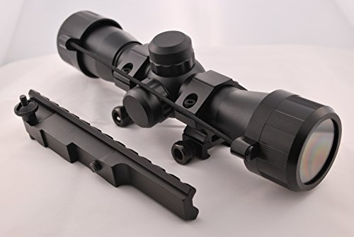 US-Deals Tactical 4x32 Compact Scope with Rangefinder Reticle and Scout Rifle Scope Mount for Mauser K98