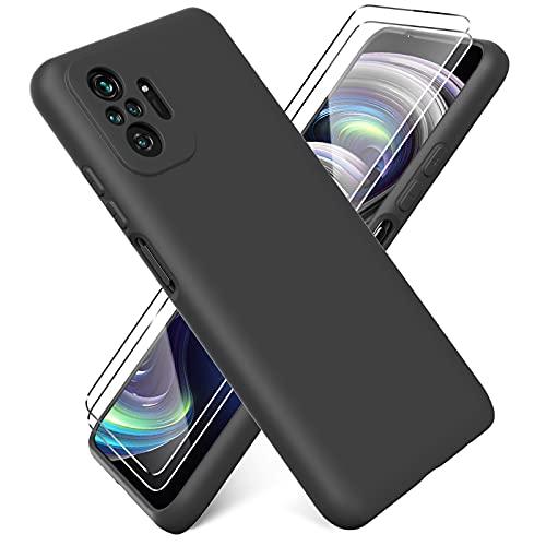 Ikziwreo - Funda para Xiaomi Redmi Note 10 Pro + [2 Pack] Protector Pantalla, Carcasa de Silicona Líquida Gel Ultra Suave Funda con tapete de Microfibra Anti-Rasguño - Negro