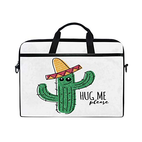 HAIIO Laptop Bag Case Mexico Cute Cactus Emoticon Quote Computer Protector Bag 14-14.5 inch Travel Briefcase with Shoulder Strap for Women Men Girl Boys