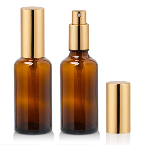 2 oz Amber Glass Spray Bottle with Atomizer for Essential Oils, Perfume, Fine Mist Spray (2 Pack)