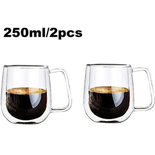 Koffiemokken Drinkglazen Dubbelwandige thermisch geïsoleerde kopjes met handvat voor thee Latte Cappuccino Espresso (250ML),250ml,2PCS