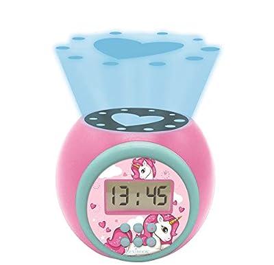 LEXIBOOK- Reloj Despertador con proyector Unicornio con función de repetición y Alarma, luz Nocturna con Temporizador, Pantalla LCD, batería, Azul/Rosado