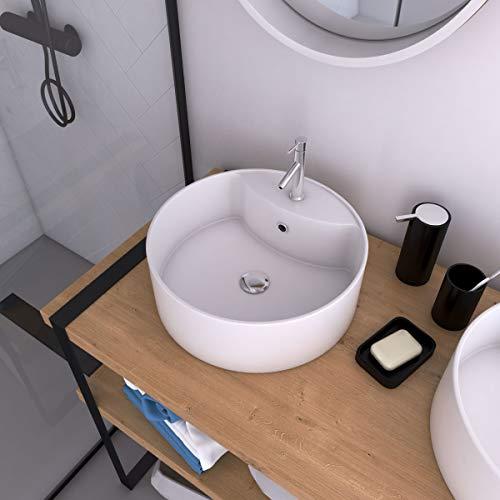 Aurlane Vasque à Poser Ronde en céramique - diamètre 40cm - Hauteur 14cm - Roll on