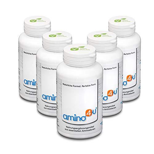 amino4u by HABACON: persen 5x120g blik 1g + gratis sporttas/balpen - alle essentiële aminozuren, eiwitvoorziening voor veganisten / vegetariërs bij diëten, spieropbouw, regeneratie