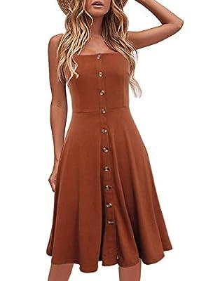 Berydress Women's Casual Beach Summer Dresses Solid Cotton Flattering A-Line Spaghetti Strap Button Down Midi Sundress (M, 6046-Brown)