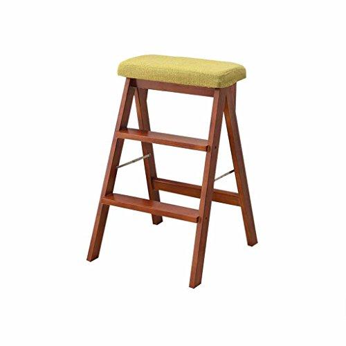 LLCY Taburete plegable de madera maciza de 3 peldaños, para el hogar, portátil, cocina, multifunción, doble uso, escalada, alto descuento con cojín, escalera, escalera, escalera