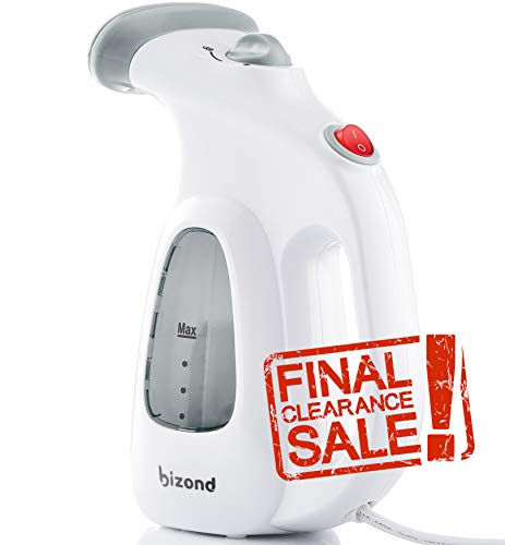 BIZOND Steamer for Clothes Travel and Home - Portable, Handheld Steamer for Garment and Fabric - Safe and Little Handy - Anti-Spill Compact Mini Steamer for Shirt, Curtain with Accessories (Silver)