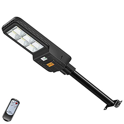 Kingwei 300W Lampadaire Solaire Exterieur 12000 LM,396 LEDs, lampadaire solaire avec Télécommande,Lampadaires à l'extérieur,étanche IP65 pour Jardin, Garage, Cour, Patio,basket