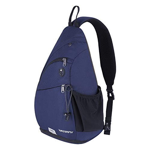 Sling Backpack, WATERFLY Sling Bag Small Crossbody Daypack Casual Canvas Backpack Chest Bag Rucksack for Men & Women Outdoor Cycling Hiking Travel (blue)