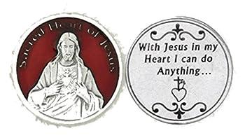 Lumen Mundi Deluxe Red Enamel Sacred Heart of Jesus Pocket Token  XX-2