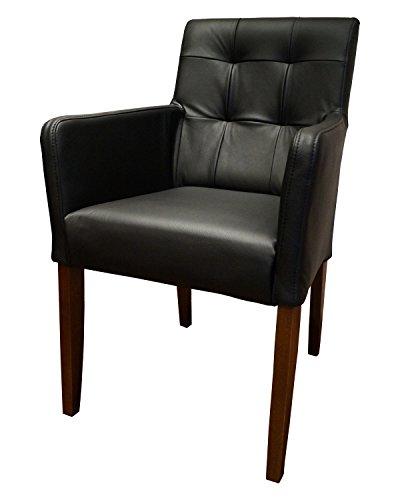 Quattro Meble Schwarz Echtleder Esszimmerstühle Massivholz Stühle David Arm Pik Lederstühle Sessel mit Armlehnen Echt Leder Esszimmer Stuhl