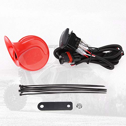 RZR Horn Kit, kemimoto Loud Universal UTV Horn Kit Easy Installation with Rocker Switch Red 12V Compatible with Polaris RZR Ranger, PRO XP, Can Am, Up to 2021+
