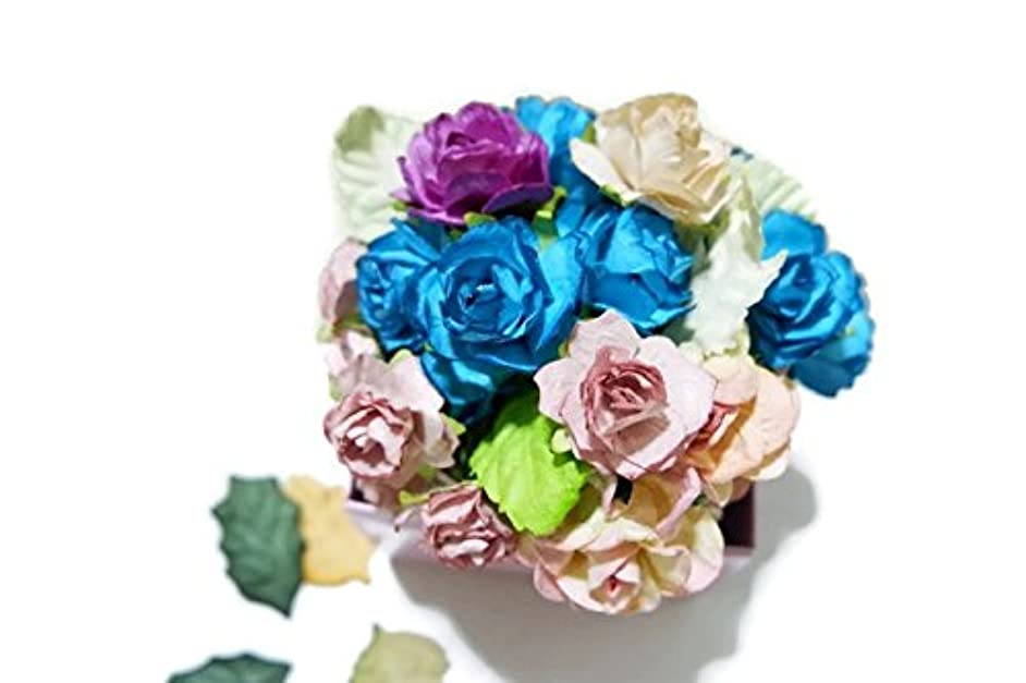 (N.16) 40pcs Mixed Rose and Leaves 4 Colors Mulberry Paper Flower 20-25mm Scrapbooking Wedding