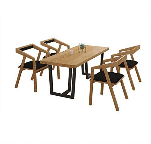 Mesa de comedor de madera maciza simple, juego de combinación de sillas, mesa y silla de comedor de hierro forjado para varias personas, restaurante de apartamentos pequeños mesa de comedor larga