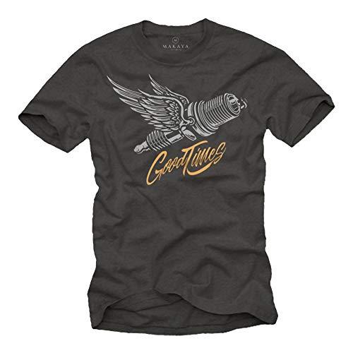 MAKAYA Camiseta Hombre para Mecanicos Motociclistas y Moteros - T-Shirt con Bujia de Moto Regalos Motoristas Gris Talla Grande L