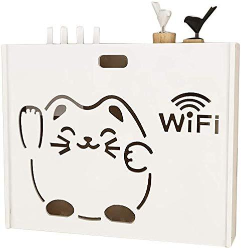 Geyao Estante para pared con WiFi para gato Beckoning, caja de almacenamiento inalámbrica, para sala de estar, caja multimedia, estante decorativo, color blanco (tamaño: diámetro interior: 46 cm)