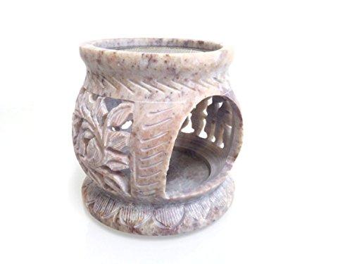 """Fumaga – Räucherstövchen aus Speckstein mit Sieb """"Blume"""" Ø 7,5 cm, H: 8,0 cm"""