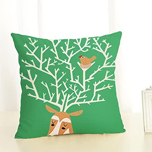 Oukeep Funda De Almohada Decorativa con Patrón De Cervatillo, Almohada para La Siesta En Casa, Contraportada del Sofá del Dormitorio, Almohada para Yoga, Material Lavado con Poliéster