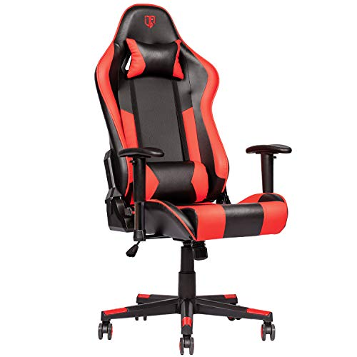 Outroad Gaming Chair Office Computer Desk Chair Ergonomic Backrest and Seat Height Adjustment Recliner Swivel Rocker with Headrest and Lumbar Pillow E-Sports Chair, Red