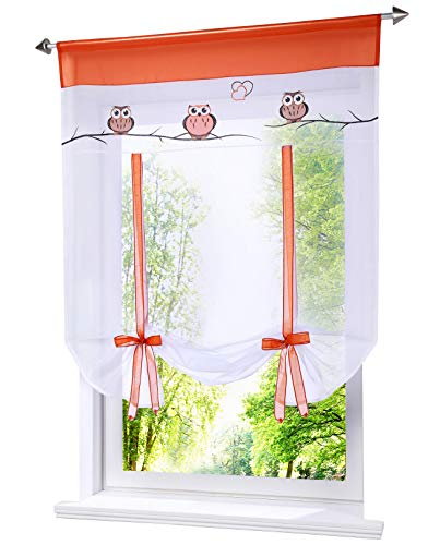 BAILEY JO 1er-Pack Raffrollo mit Tunnelzug Eule Stickerei Rollos Voile Transparent Vorhang (BxH 60x120cm, orange)